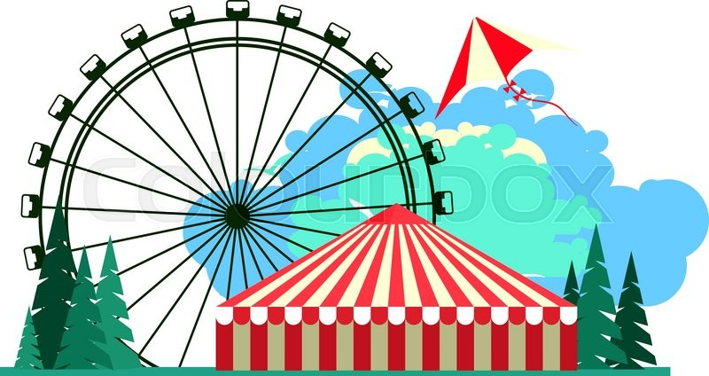 800x424 Vector Illustration Poster Amusement Park Rides And A Carnival