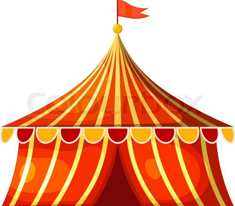800x702 Cartoon Circus Marquee Tent. Vector Illustration Stock Vector
