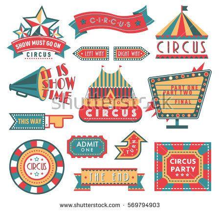 450x433 Circus Vintage Labels Banner Vector Illustration Isolated On White