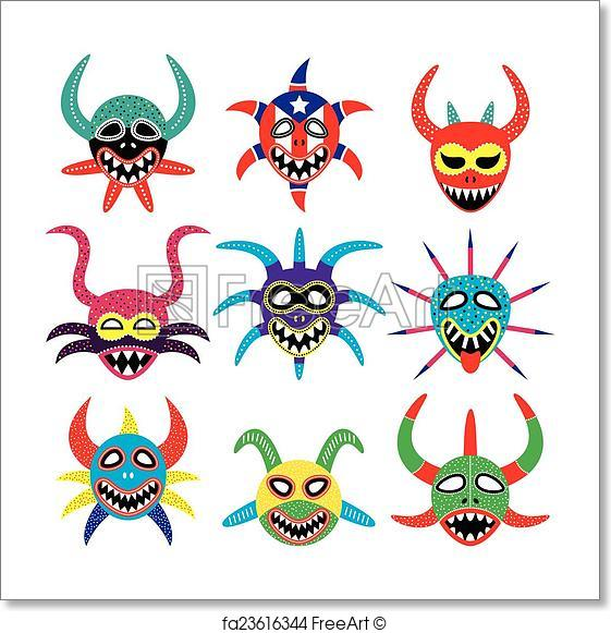 561x581 Free Art Print Of Vejigante Mask For Ponce Carnival . Vector Icons