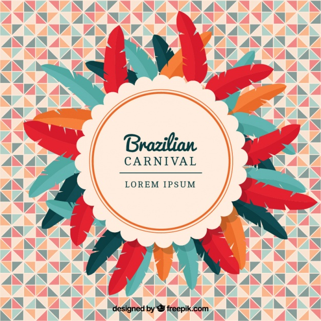 626x626 Geometric Background With Colorful Feathers For Brazilian Carnival