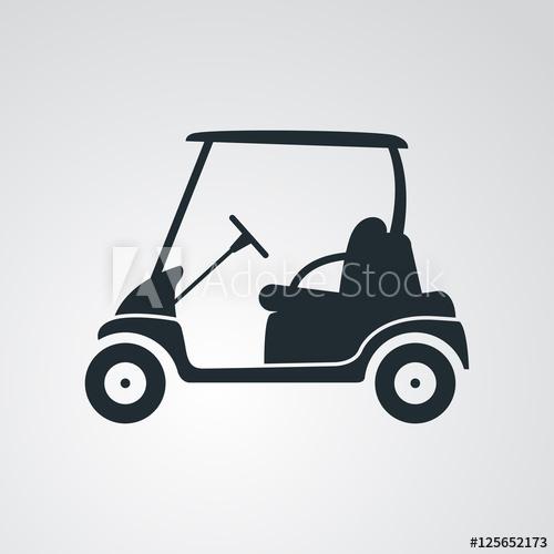 500x500 Icono Plano Carro Golf En Fondo Degradado