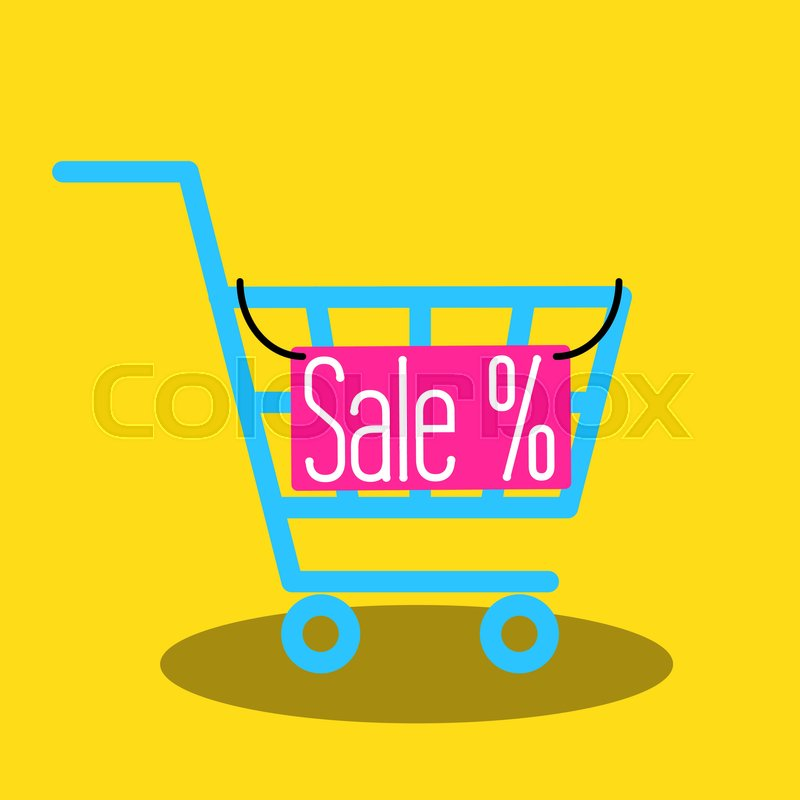800x800 Shopping Cart Vector Icon With Sale Nameplate. Empty Market Cart