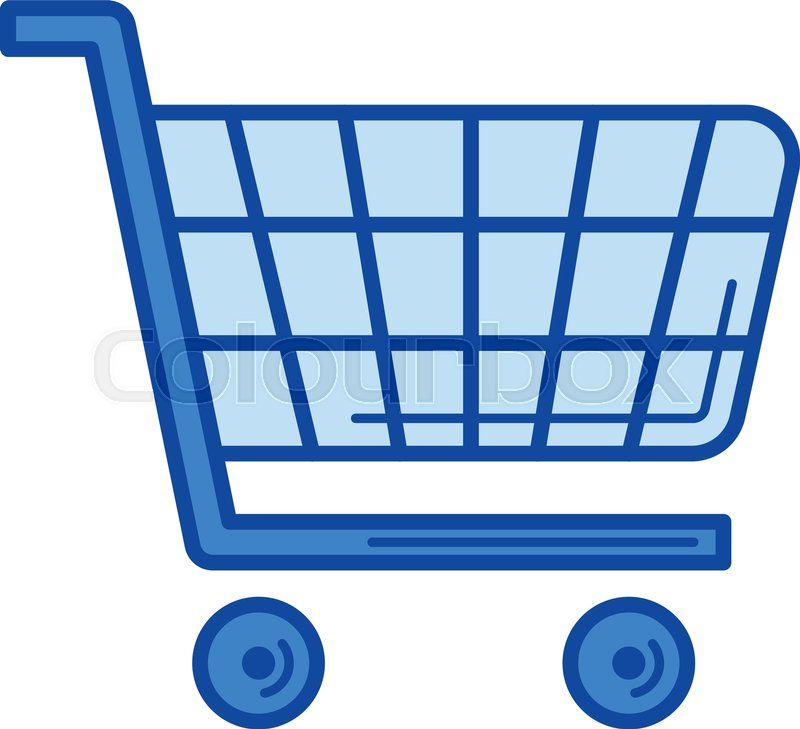 800x729 Shopping Cart Vector Line Icon Isolated On White Background