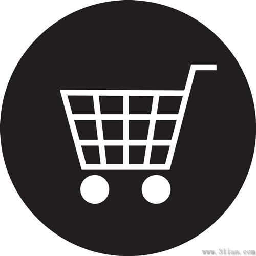 500x500 Vector Black Background Shopping Cart Icon Free Vector In Adobe