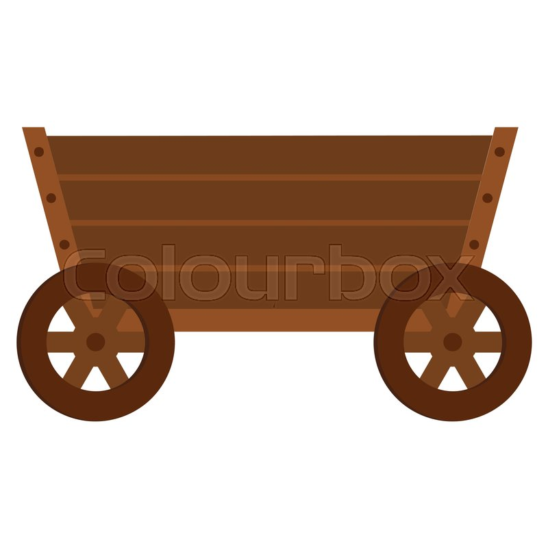 800x800 Wooden Cart Flat Cartoon Icon. Wagon Vector Illustration For