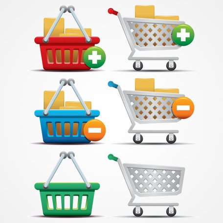 456x456 Free Shopping Cart Icons And Basket Vector Graphics (Free) Clipart