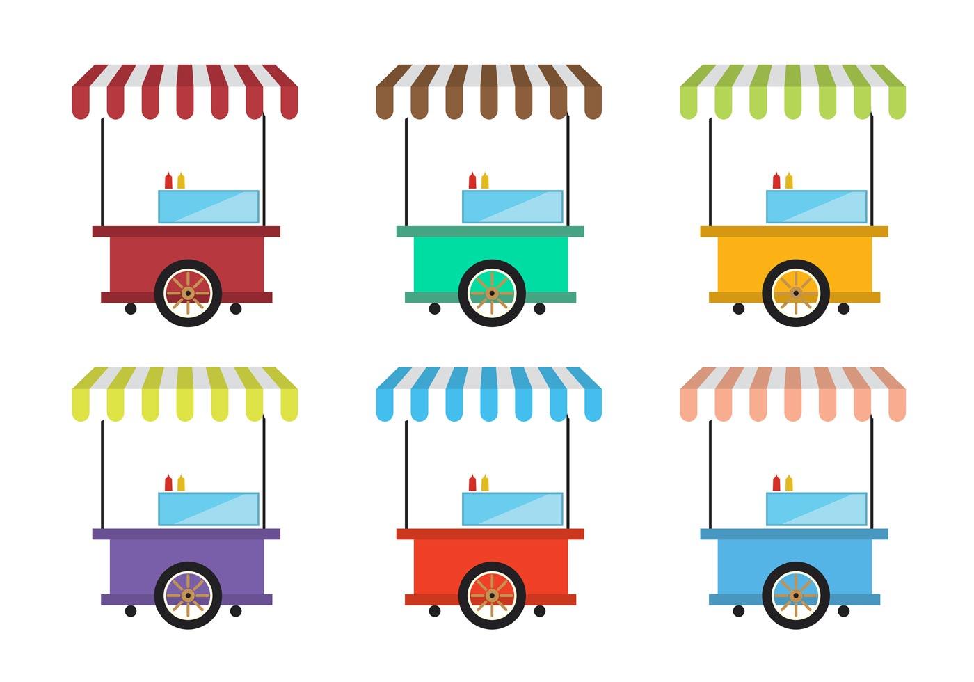 1400x980 Food Cart Free Vector Art