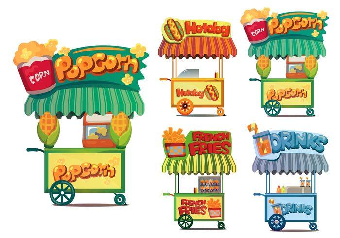 700x490 Free Vector Food Cart Vectors