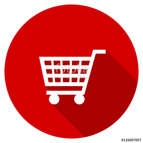 500x500 Red Round Flat Shopping Cart Vector Icon Stock Image And Royalty