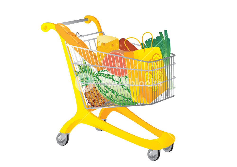 1000x707 Supermarket Cart. Vector Illustration Royalty Free Stock Image