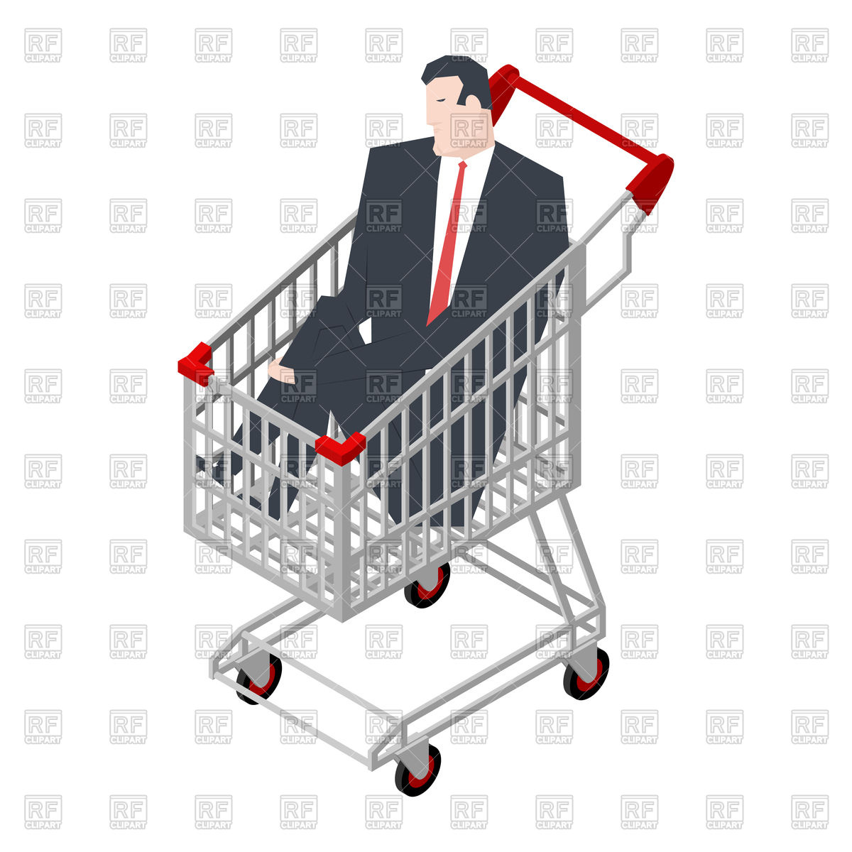1200x1200 Businessman Sitting In Shopping Cart Vector Image Vector Artwork