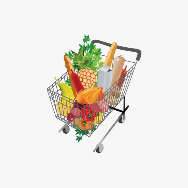 650x651 Cart Vector, Shopping Cart, Shopping Basket, Fruits And Vegetables