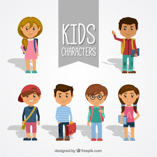 626x626 Collection Of Kid Characters Vector Free Download