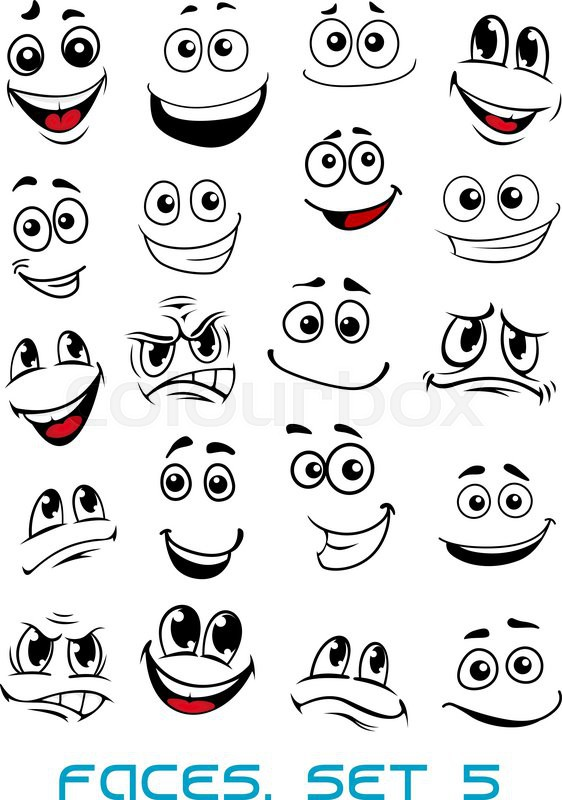 562x800 Cartoon Faces With Different Expressions, Mostly Happy And Smiling