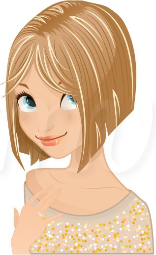317x516 Portrait Blonde Girl Illustration, Portrait Blonde Girl Vector