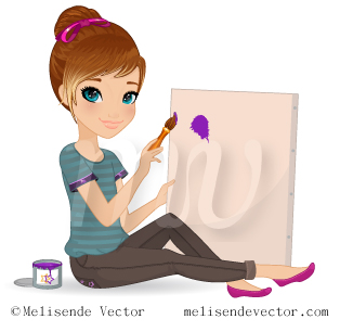 314x306 Young Girl Painting Illustration, Young Girl Painting Vector