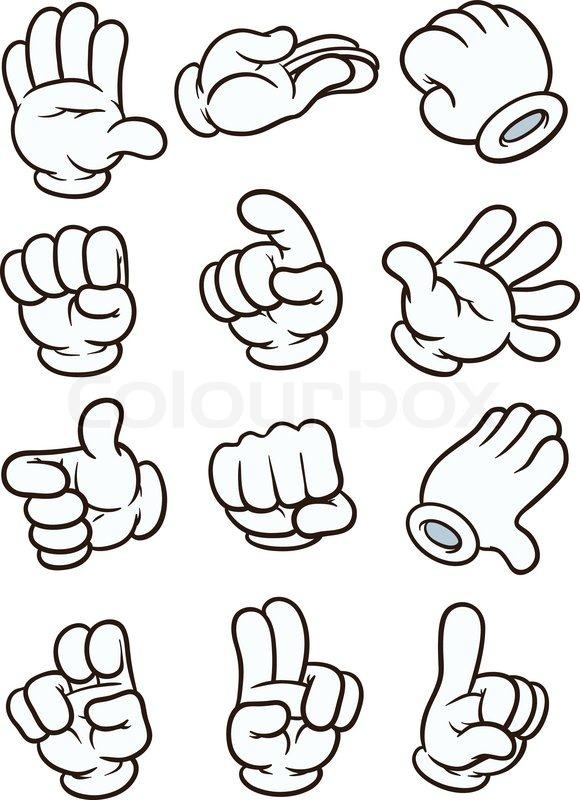 580x800 Cartoon Gloved Hands. Vector Clip Art Illustration. Each In A