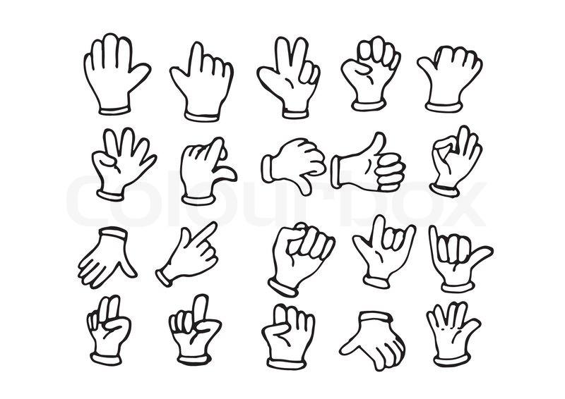 800x566 Cartoon Hand Gloved , Illustration Of Various Hands Stock Vector