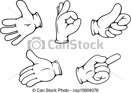 450x319 People Hand Gestures Set In Cartoon Comics Style.