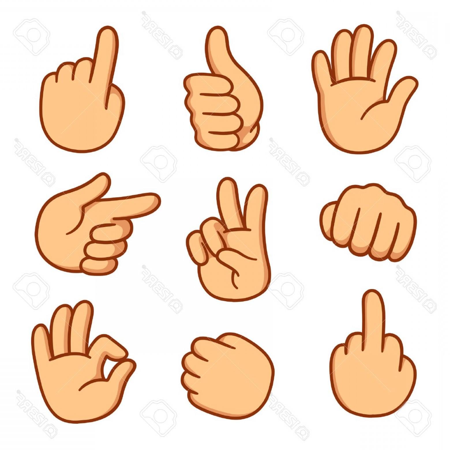 1560x1560 Photostock Vector Cartoon Hands Set Different Gestures Vector