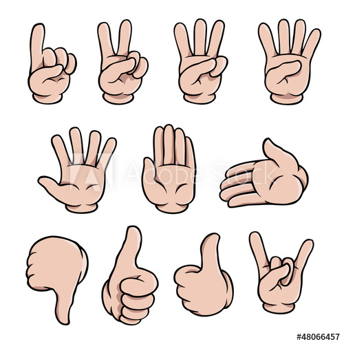 500x500 Set Of Human Cartoon Hands Showing Various Gestures.