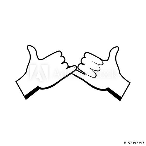 500x500 Cartoon Hands Pinky Promise Gesture Image Vector Illustration