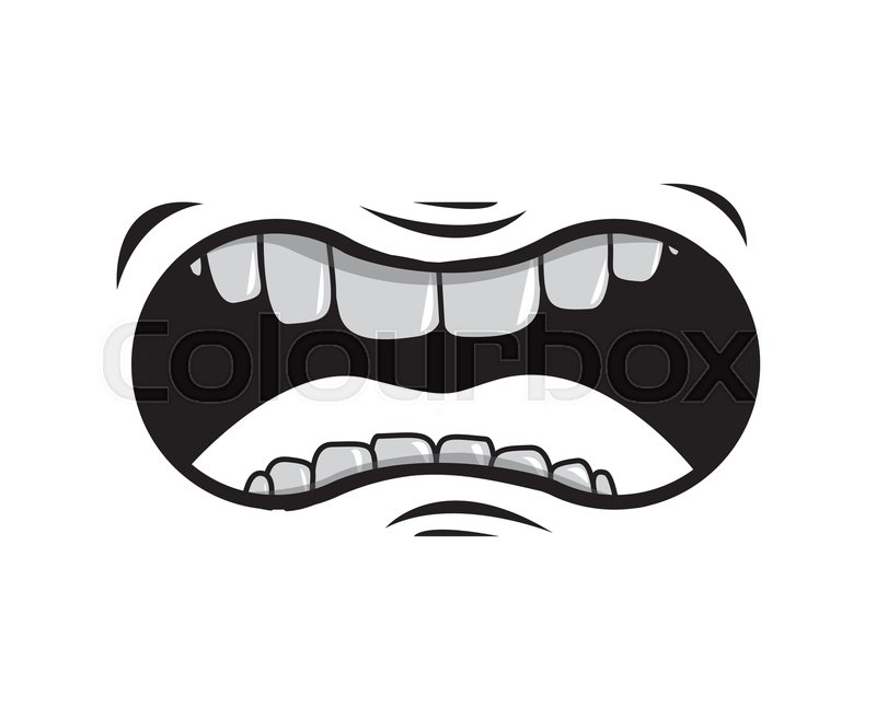 800x657 Cartoon Mouth With Teeths With Angry Expression Over White