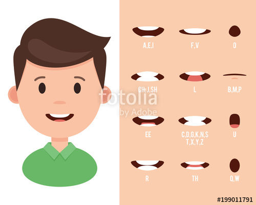 500x400 Lip Sync Collection For Animation. Cartoon Mouth Sync For Sound