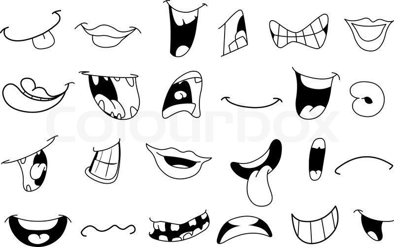 800x503 Outlined Cartoon Mouth Set Stock Vector Colourbox