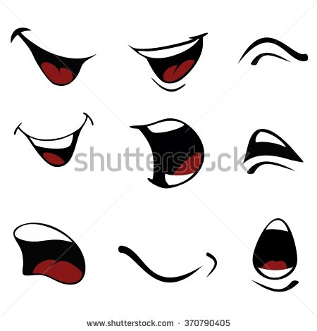450x470 Cartoon Mouth Group With Items