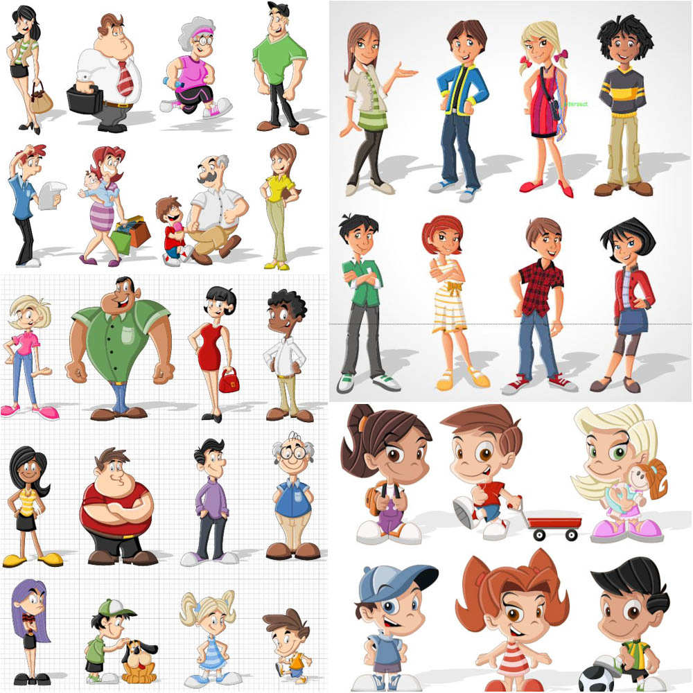 1000x1000 Cartoon People Vector Free Download Vectorpicfree (Free Ai Eps)