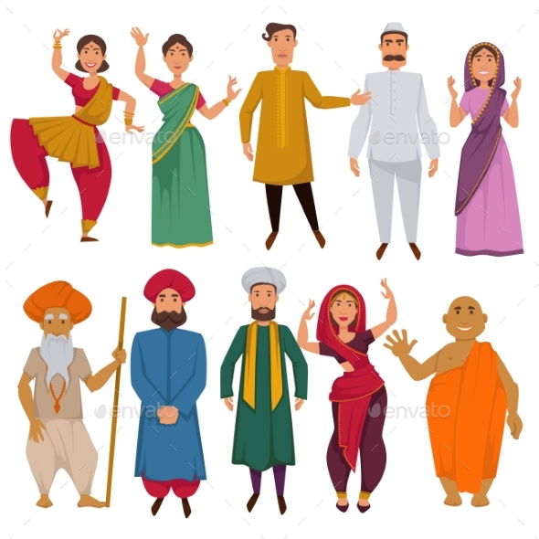 590x590 Indian People Traditional Clothes Vector Cartoon By Sonulkaster