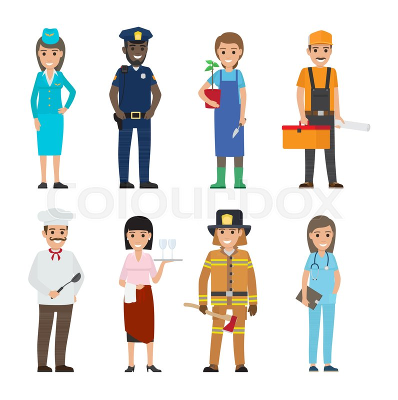 796x800 Professions People Vector Icons Set. Different Profession Woman