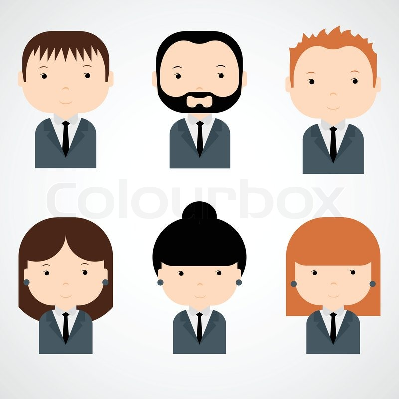 800x800 Set Of Colorful Office People Icons. Businessman. Businesswoman