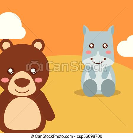 450x470 Cute Animal Cartoon. Cute Animals Hippo Sitting Bear Waving Hand