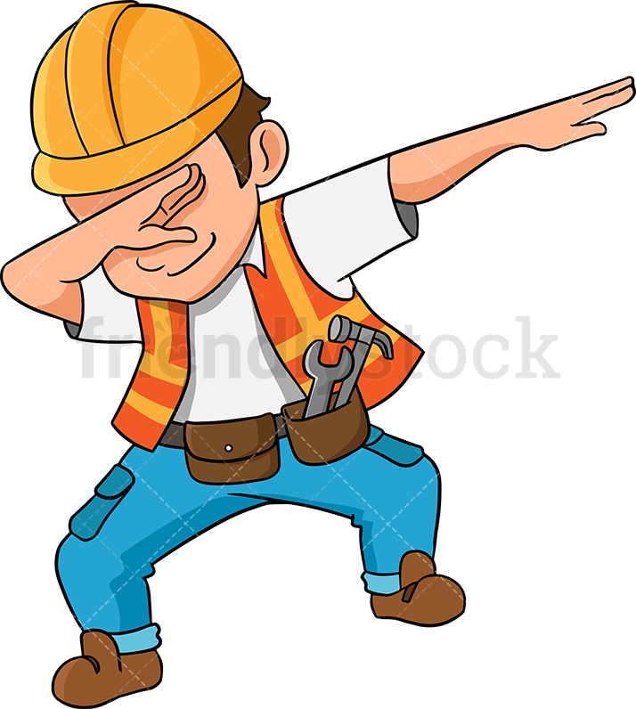 714x796 Dabbing Construction Worker Cartoon Vector Clipart