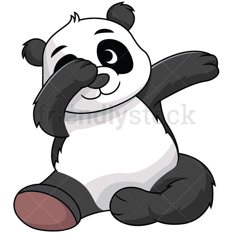 800x800 Dabbing Panda Vector Cartoon Clipart Adorable Animals