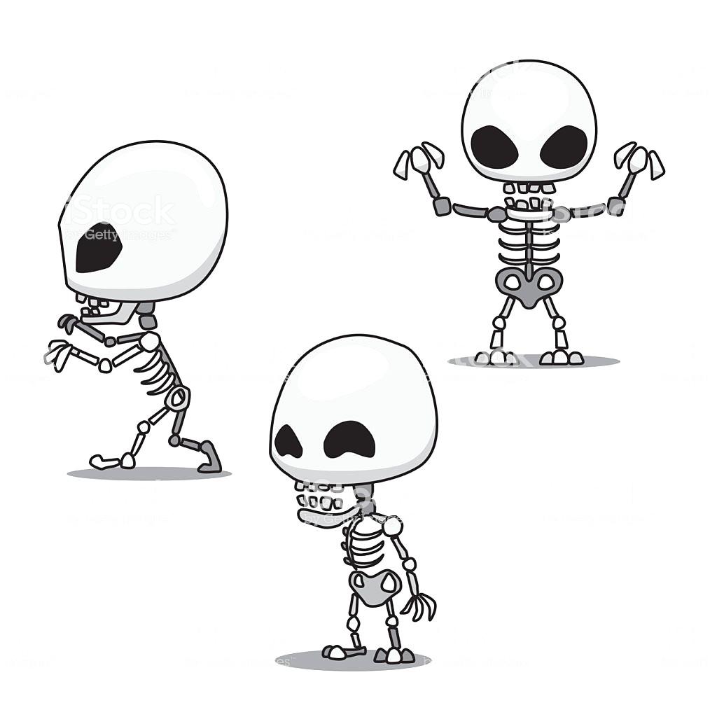 1014x1024 Halloween Character Set Cute Skeleton Cartoon Vector Illustration