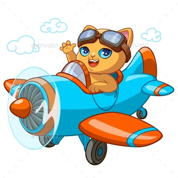 590x590 Kitty Pilot Cartoon Vector Illustration Of Kitten By Vectorpouch