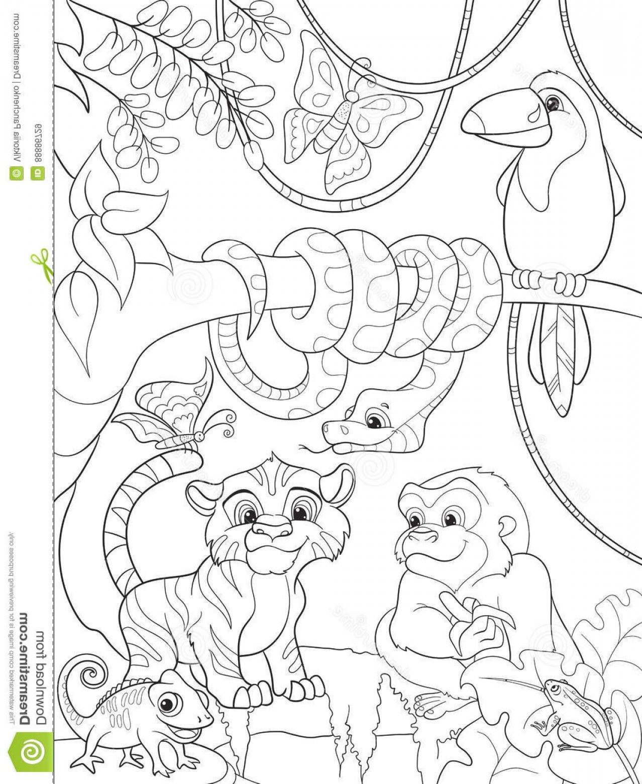 1278x1560 Stock Illustration Jungle Forest Animals Cartoon Vector