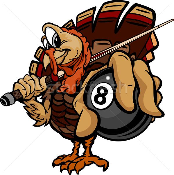 599x600 Billiards Eight Ball Thanksgiving Holiday Turkey Cartoon Vector