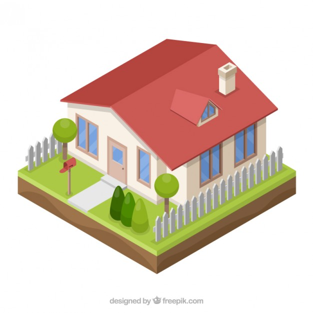 626x626 3d Style House Vector Free Download