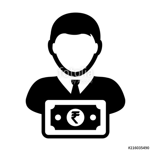 500x500 Cash Icon Vector Male User Person Profile Avatar With Rupee Sign