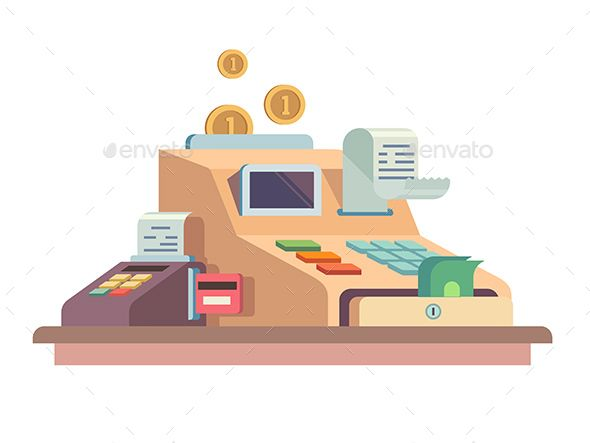 590x443 Cash Register Apparatus Object Typography Vector