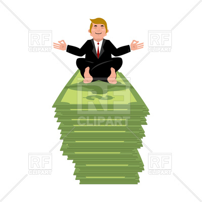 400x400 Business Yoga And Money. Businessman Meditating On Cash. Vector