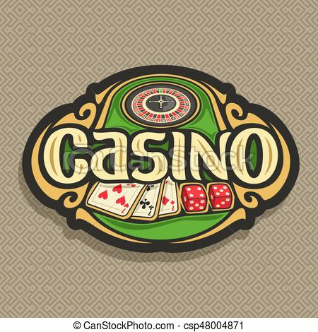 450x470 Vector Logo For Casino Club On Brown Background Roulette Wheel On