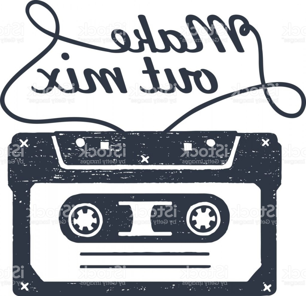 1228x1188 Hand Drawn S Themed Badge With Cassette Tape Vector Illustration