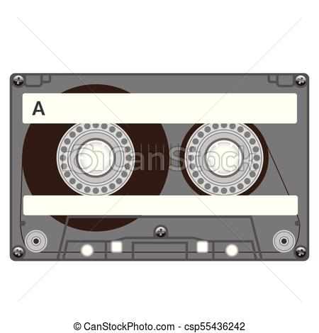 450x470 Plastic Audio Cassette Tape. Realistic Illustration. Isolated On