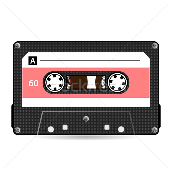 600x600 Retro Audio Cassette Vector. Plastic Audio Cassette Tape. Old